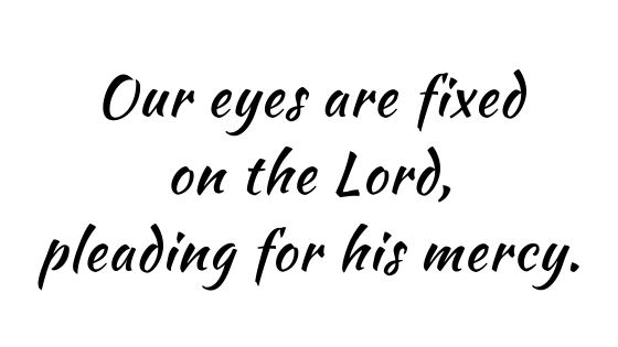 Our eyes are fixed on the Lord